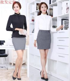 韩国女式秋季衬衫外套新款衬衫白色黑色宫廷式修身立领工装衬衣