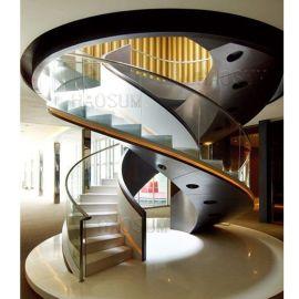 异形旋转楼梯 餐厅玻璃转梯 钢结构玻璃楼梯