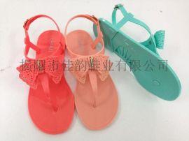 揭阳厂家供应女款蝴蝶结水晶凉鞋