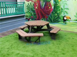 六角形全塑木戶外桌椅組合珠海長隆定制戶外餐桌廠家