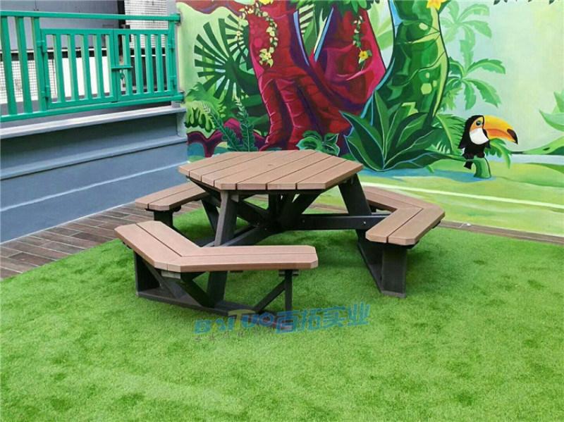 六角形全塑木户外桌椅组合珠海长隆定制户外餐桌厂家
