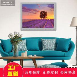 现代简约装饰画客厅餐厅沙发背景墙挂画壁画有框卧室油画薰衣草
