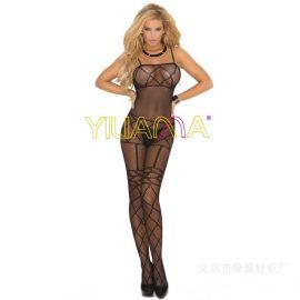 速卖通亚马逊新款情趣丝袜批发爆款性感提花网眼情趣连身衣连体衣