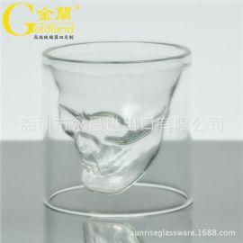 金兰定制3D骷髅头骨烈酒玻璃杯异形海盗双层杯