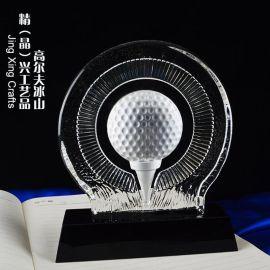 高尔夫比赛水晶冰山奖牌 高尔夫俱乐部球友聚会工艺纪念品定制