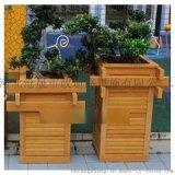 张家口木质花箱,公园坐凳木质花盆厂家