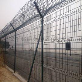 朋英 机场铁丝浸塑安全防护网 带刺圈隔离护栏网