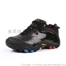 麥樂 情侶款登山鞋秋冬款紋皮保暖防水防滑低幫戶外運動鞋