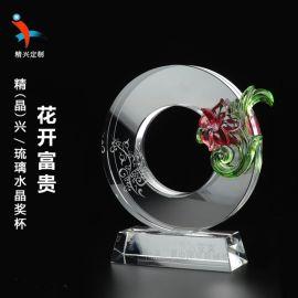 琉璃纪念奖牌 公司开业活动水晶展示纪念牌