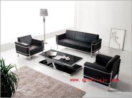 厂家直销黑色真皮办公沙发组合3+1+1