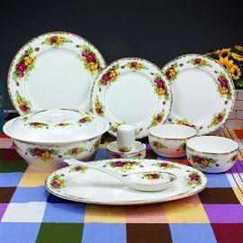 正宗景德镇骨瓷套装餐具批发,陶瓷餐具定做厂家