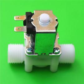国标平行G1/2四分管螺纹外螺纹常开塑料电磁阀