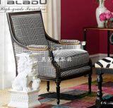 美若婳家具s39 美式乡村实木单人沙发椅后现代复古千鸟格布艺单椅客厅卧室休闲椅