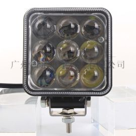 27W超聚光4D透镜LED工作灯 方形汽车加装用高低亮两档照明强射灯