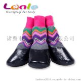 防水寵物襪套戶外運動防滑民族風彩色條紋狗狗鞋襪子