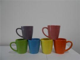 11OZ螺纹色釉陶瓷杯厂家销售