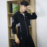 男式春秋新款立領三條槓休閒運動服套裝定做logodiy外套男潮青年