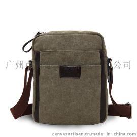 厂家直销 帆布派 时尚男士休闲帆布包 韩版商务单肩斜挎包 T12-1