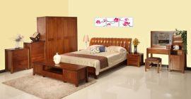 浙江全盛木方居实木床简约现代1.8米 胡桃木高箱床婚床特价促销