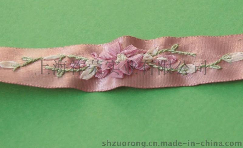 网布丝带绣花 缎带丝带绣花边 丝带绣加工 丝带绣抱枕