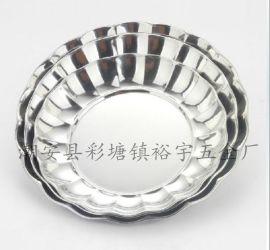【彩塘厂家直销】不锈钢托盘 百合盘 莲花盘 水果盘 圆形托盘