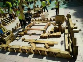 山东艺贝幼儿园户外玩具 碳化积木 组合攀爬架 幼儿用床专业生产