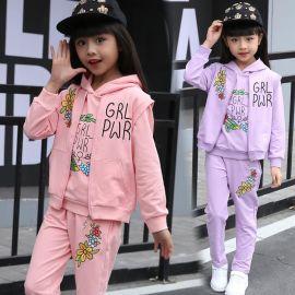 安格儿公主女童套装2017新品纯棉长袖卫衣儿童春装