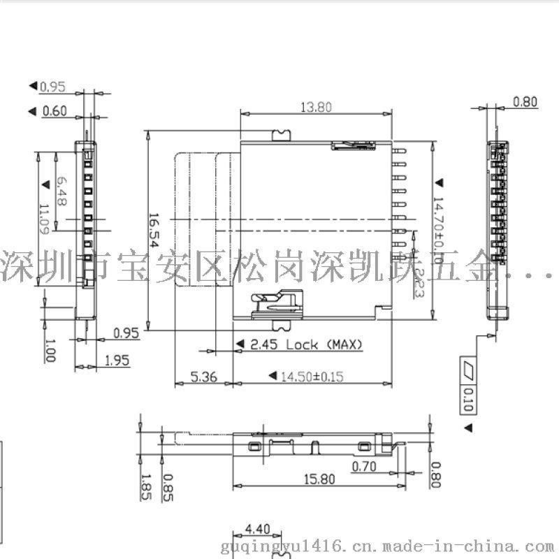 SD卡座 TF卡座 micro 自彈外焊型9PIN座子 USB連接器