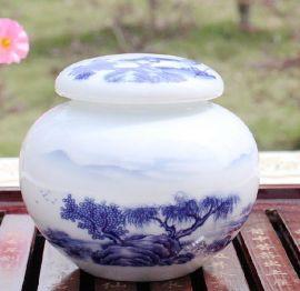 景德镇手绘茶叶罐,陶瓷茶叶罐厂家