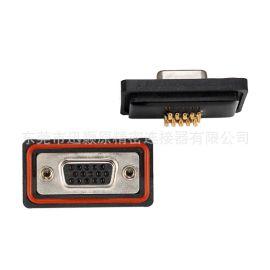 车针D-SUB防水连接器,HDB 15母防水连接器,D-sub 连接器