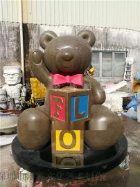 商场摆设树脂圣诞礼物泰迪熊雕塑大型玻璃钢维尼熊