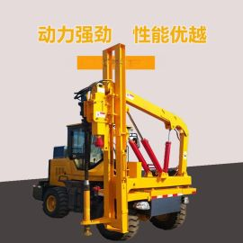 四轮护栏打桩机价格 波形护栏钻孔机 气动护栏打桩机