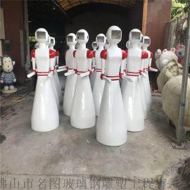 送餐机器人雕塑定制、玻璃钢机器人外壳造型