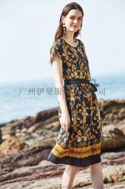 凯撒贝雷19夏桑蚕丝连衣裙品牌折扣女装货源
