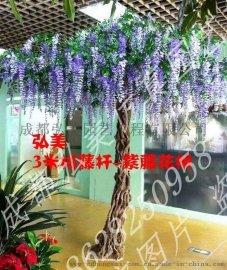 重庆仿真紫藤花树生产 重庆假紫藤树定做 万州紫色树定做 永川假花树生产批发