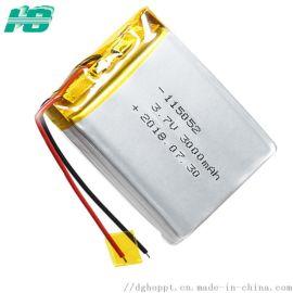 低温锂电池-40℃软包115052聚合物锂电池3000mAh大容量3.7V灯具电池
