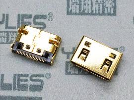 HDMI连接器 母座 双排贴片 D-TYPE
