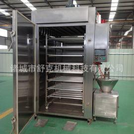 重慶特產柴火煙薰麻辣腸全套加工設備 大型液壓灌腸機自動煙薰爐