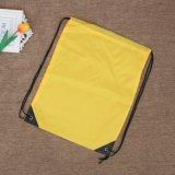 黄色涤纶袋束口袋礼品袋购物袋牛津布袋定制logo