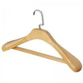 最佳木衣架生产厂家 酒店服饰镀铬大扁钩胶牙底线木衣架