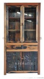 船木双开多层书架 办公用文件玻璃柜子