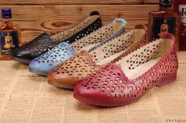 工厂批发2015新款外贸真皮个性复古休闲舒适牛女单鞋时尚女士皮鞋豆豆鞋等支持混批