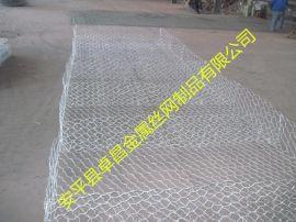 加固六角墙式铅丝绿滨垫,矽胶涂塑铁路隔离石笼网