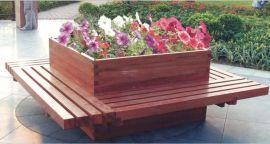木制坐凳花箱 户外花箱围椅 园林椅花槽