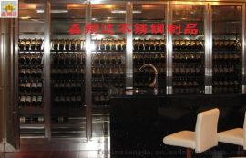 豪华不锈钢玻璃酒柜  KTV、酒店酒架厂家定制厂家直供
