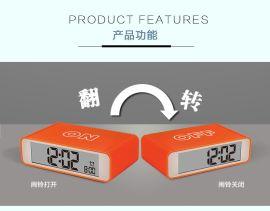 法克图新款电子闹钟LCD显示智能夜光翻转时钟