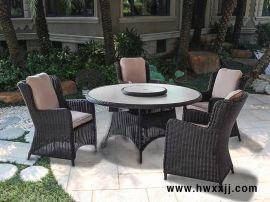 会所餐厅桌椅|藤编休息椅|6人台转盘餐桌椅|  酒店露台餐桌椅