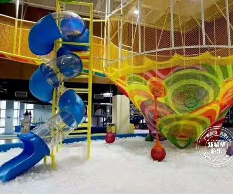室内亲子餐厅乐园设施 彩虹树绳网迷宫健身蹦蹦床 儿童乐园设备