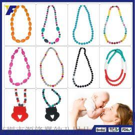 欧美热销饰品女式项链时尚装饰品七彩珠子项链婴儿磨牙硅胶项链