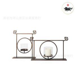 中式烛台摆件金属铁艺大理石板间客厅书房别墅软装饰品新中式摆件